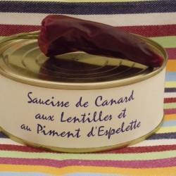 Saucisses de Canard aux Lentilles et au Piment d'Espelette